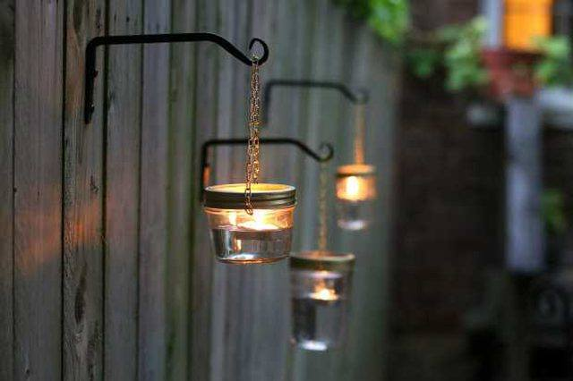 Outdoor Hanging Lights Using Mason Jars
