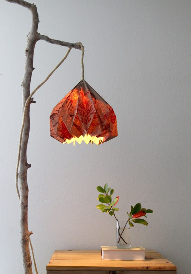 Easy DIY Pendant Light with Beautiful Origami DIY Lampshade