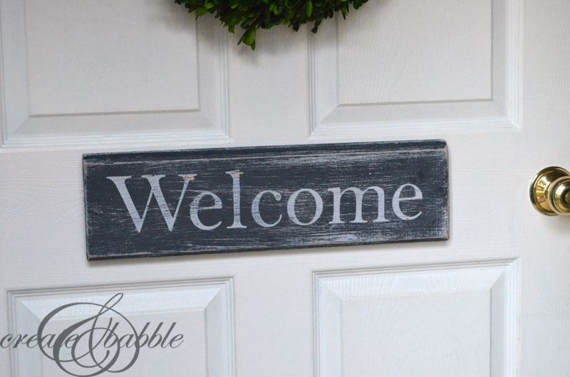 DIY Distressed Wood Welcome Sign